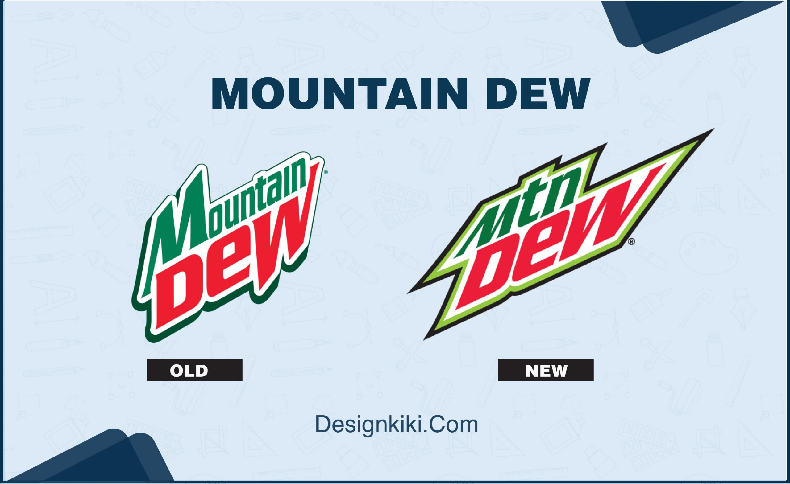Mountain Dew logo before and after redesign